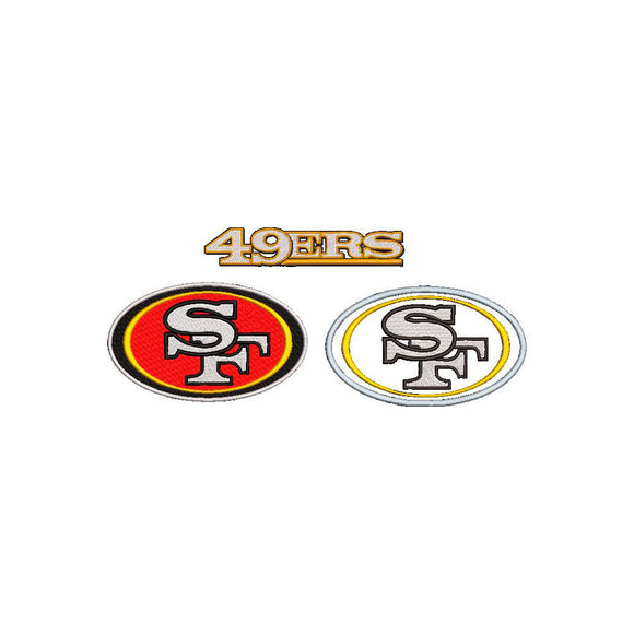 NFL San Francisco 49ers inspired Machine Embroidery design. 3 Designs Multiple sizes