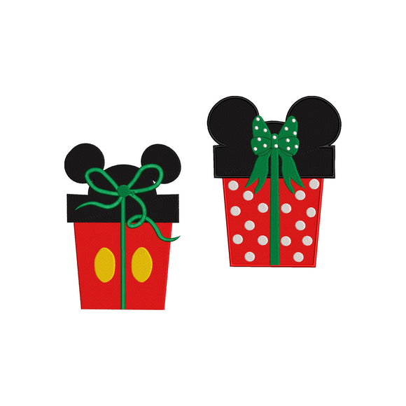 BUNDLE - Mickey and Minnie Mouse Inspired Christmas Presents Machine Embroidery Design.  6 Sizes
