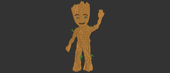 Marvel Guardians of the Galaxy Baby Groot Inspired Machine Embroidery Design with Applique and Fill designs. 5 sizes