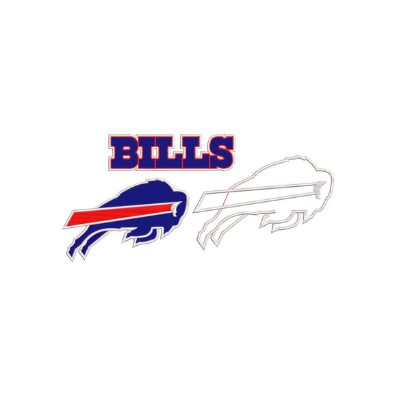 BUNDLE - NFL Buffalo Bills inspired Machine Embroidery design. Filled and Applique Designs. 3 Designs Multiple Sizes