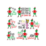 BUNDLE - Inspired by The Grinch who stole Christmas Machine Embroidery Designs.  9 Designs, 4 Sizes each.