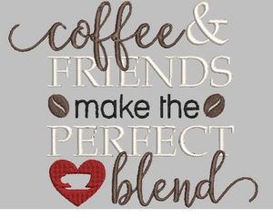 "Coffee Machine Embroidery Designs 4"" and 7"" Designs. Coffee & Friends Make the Perfect Blend."