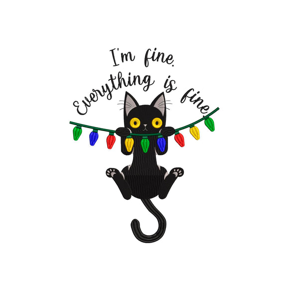 Christmas Kitty Machine Embroidery Design.  I'm fine.  Everything is fine.