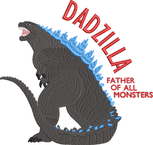 Godzilla Inspired Machine Embroidery Design. Dadzilla Father of all Monsters 6 sizes