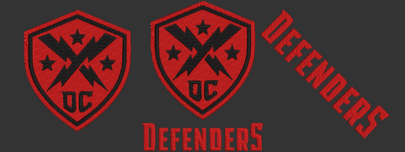 XFL DC Defenders inspired design.  Logo, Text and Logo with text in multiple sizes
