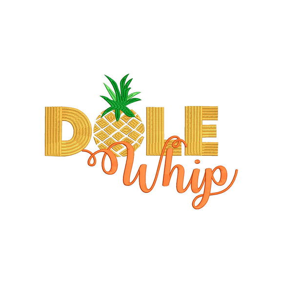 Disney Pineapple Dole Whip inspired Machine Embroidery Design. 5 sizes