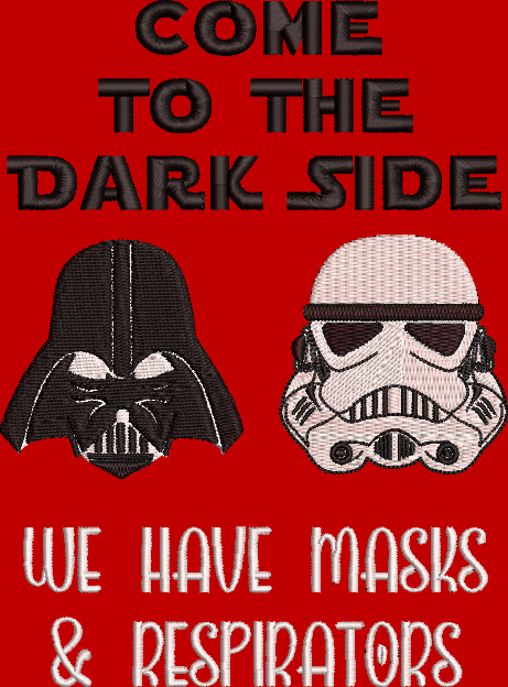 Star Wars Darth Vader inspired, Come to the Dark Side, We have mask and respirators. Machine Embroidery File.  4 sizes
