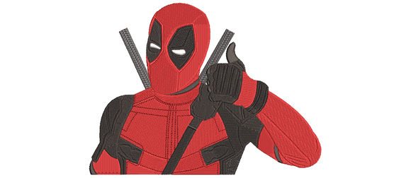 Marvel Deadpool Inspired Machine Embroidery Design. Thumbs Up! 8 sizes