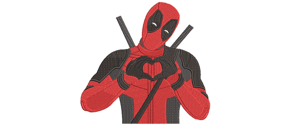 Marvel Deadpool Loves You Inspired Machine Embroidery Design. Heart! 5 sizes