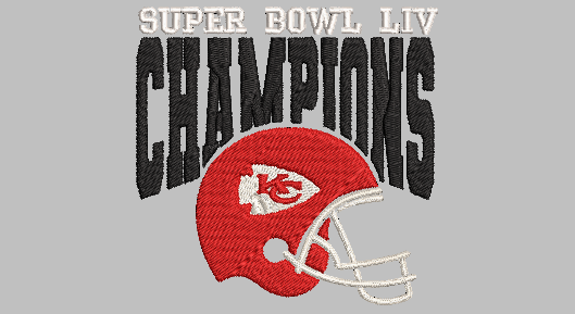 Super Bowl LIV Champions Kansas City Chiefs Machine Embroidery File. 2 sizes