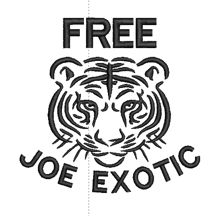Tiger King Free Joe Exotic inspired Machine Embroidery Design.  5 Sizes