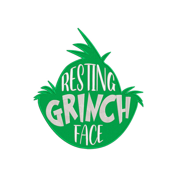 Inspired by The Grinch who stole Christmas Machine Embroidery Design. Resting Grinch Face.