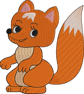 Children's Baby Fox Machine Embroidery File.  4 sizes