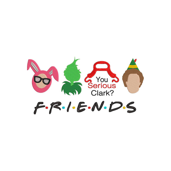 Friends - Buddy, Grinch, Ralphie, and Griswolds!  Christmas Machine Embroidery Design 6 sizes