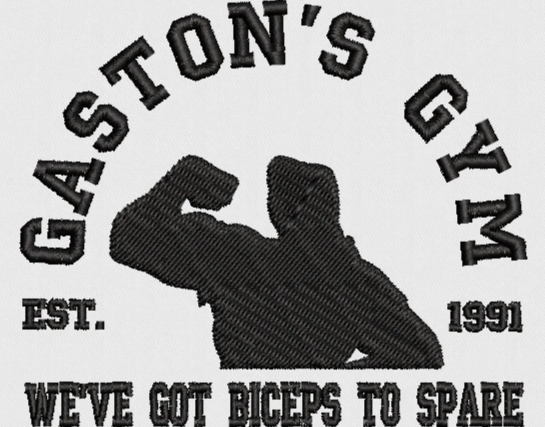 Disney Gaston from Beauty and the Beast Machine Embroidery Design. Gaston's Gym. 2 Sizes