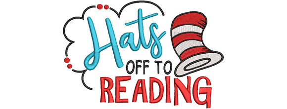 Hats off to Reading Cat in the Hat Inspired Machine Embroidery File.  2 Sizes.