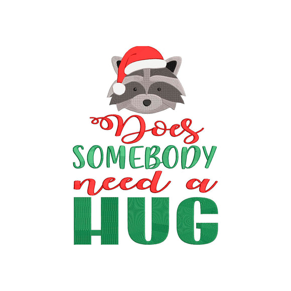 Buddy the Elf.  Does Somebody need a Hug?  Racoon.  Elf Christmas Movie Inspired Machine Embroidery File.  5 Sizes