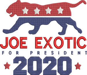 Tiger King Joe Exotic for President 2020 inspired Machine Embroidery Design.  5 Sizes
