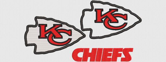NFL Kansas City Chiefs inspired Machine Embroidery design. Filled and Applique Designs.