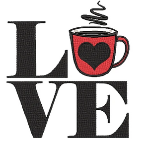 "Coffee Machine Embroidery Designs 4"" and 5"" Designs. Love Stamp Design"