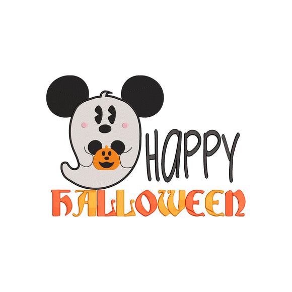 Disney inspired Mickey Ghost Happy Halloween Machine Embroidery Design File. 5 sizes