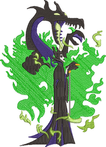 Maleficent Mistress of Evil Villains Dragons inspired Machine Embroidery Design. 2 sizes, can be customized.