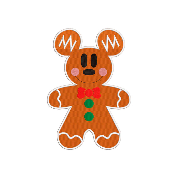 Disney Inspired Machine Embroidery Christmas Design. Mickey Gingerbread Cookie.