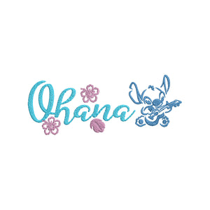 Disney Lilo & Stitch Inspired Machine Embroidery design.  Ohana Means Family. 5x7 and 4x4.