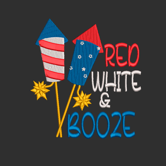 Fourth of July Machine Embroidery Design. Red, White, & Booze, 7 Sizes