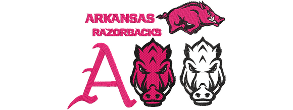 NCAA University of Arkansas Razorbacks inspired Machine Embroidery design. 5 Different Designs, Filled and Applique Designs. 5 Designs Multiple Sizes