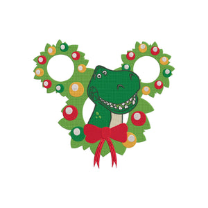 Disney Toy Story inspired Machine Embroidery Design. Rex the Dinosaur Christmas.   4 Sizes,