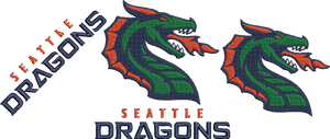 XFL Seattle Dragons inspired Machine Embroidery design.  Logo, Text and Logo with text in multiple sizes