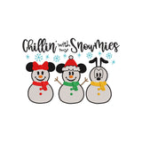Chillin' with my Snowmies. Disney Mickey Mouse, Minnie Mouse and Pluto Inspired Machine Embroidery Design. 5 Sizes