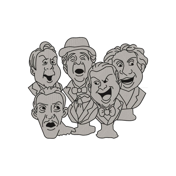 Disney Haunted Mansion Singing Busts or Mellomen Machine Embroidery Design. 6 sizes