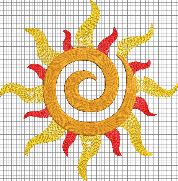 Disney Tangled Inspired Machine Embroidery File.  Corona Sun Symbol