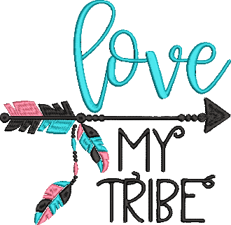 Mom Life - I love my Tribe  Machine Embroidery Files. 6 Sizes