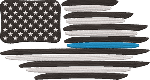 Thin Blue Line Police Support Flag. Machine Embroidery File.