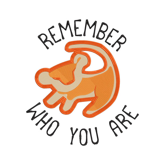 Disney Lion King Inspired Machine Embroidery Design. Remember who you are.