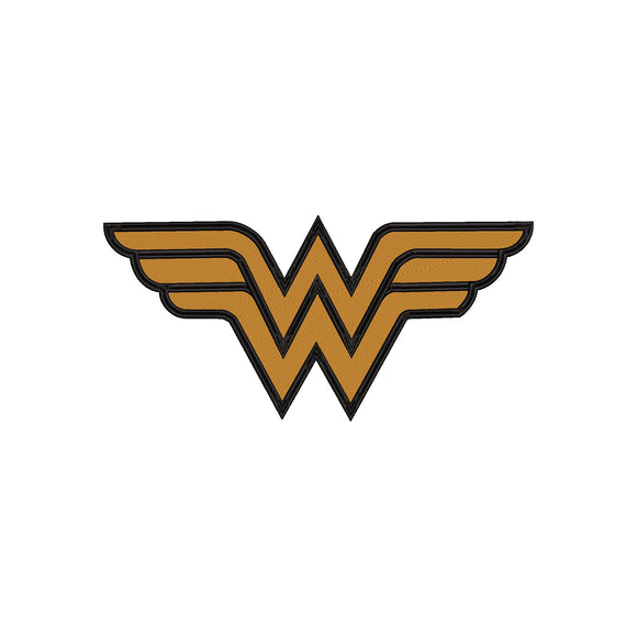 DC Comics Inspired Wonder Woman Logo Machine Embroidery Design.  5 sizes