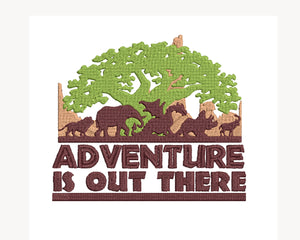 Animal Kingdom inspired Machine Embroidery Design. Adventure is out there! 2 sizes,