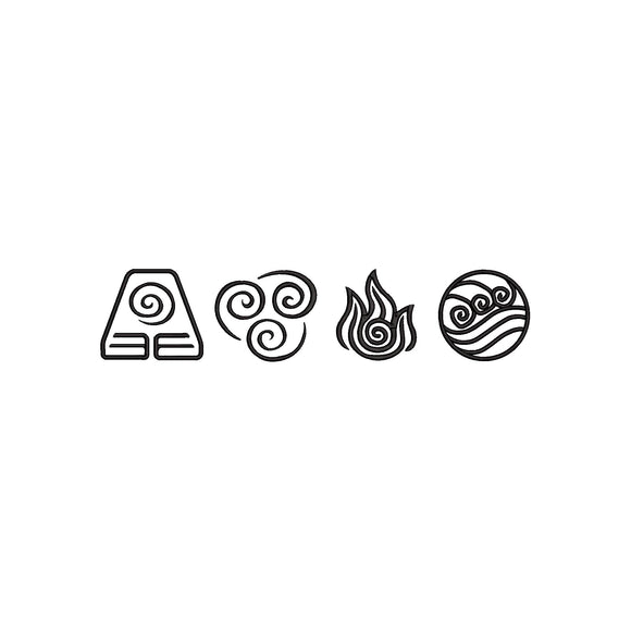 Avatar: The Last Airbender Elements Symbols Machine Embroidery Design