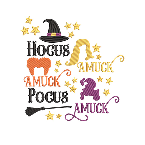Hocus Pocus Movie Inspired Machine Embroidery Design File Amuck! Amuck! Amuck! 6 sizes