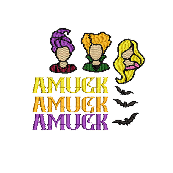 Hocus Pocus Movie Inspired Machine Embroidery Design File. Amuck Amuck Amuck 6 sizes