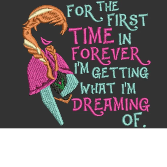 Disney inspired Machine Embroidery Files.  Princess Anna from Frozen. 2 Sizes. With quote.