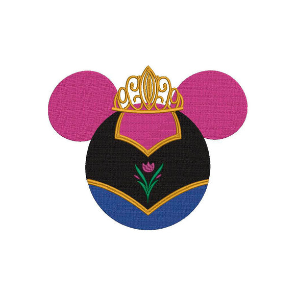 Disney inspired Machine Embroidery Files.  Mickey Ears Princess Anna from Frozen.