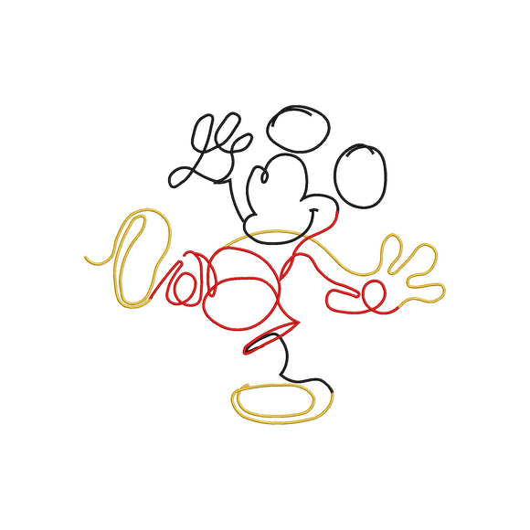 Disney Inspired Artistic Mickey Ouline Machine Embroidery Design.
