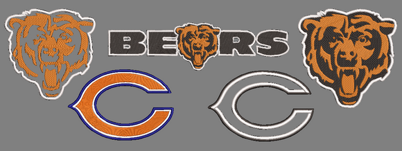 NFL Chicago Bears inspired Machine Embroidery design. Filled and Applique Designs. 5 Designs Multiple Sizes