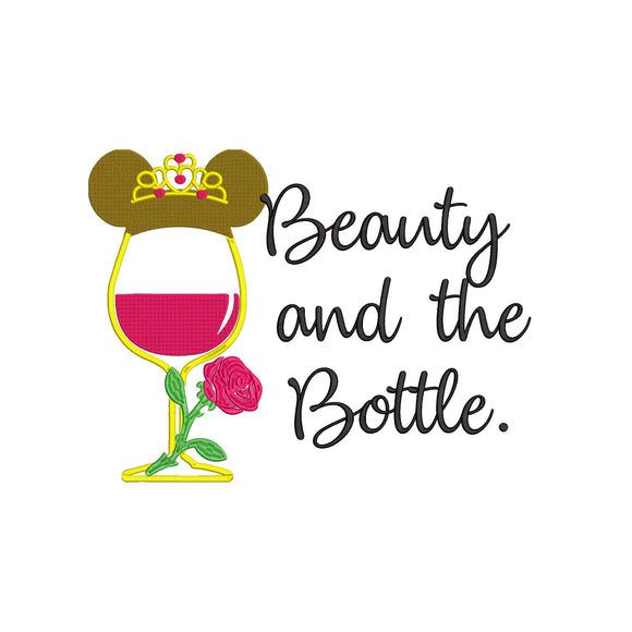 Disney Princess Belle Inspired Wine Glass Machine Embroidery Design Beauty & the Beast or Beauty and the Bottle?