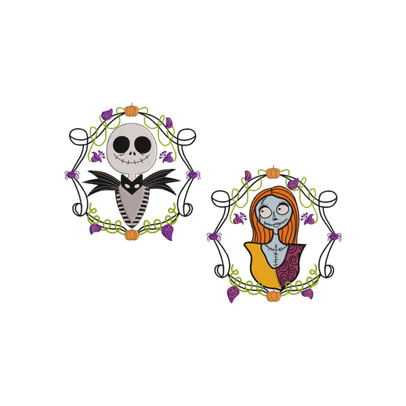 BUNDLE - Jack Skellington and Sally from The Nightmare Before Christmas! Movie Inspired Machine Embroidery Design. 5 sizes