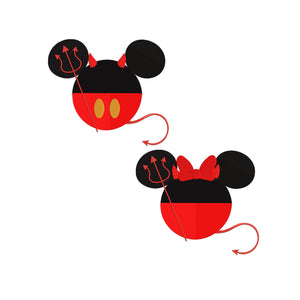 Disney inspired Mickey and Minnie Mouse Halloween Devil Machine Embroidery Design File. 2 Designs 6 sizes